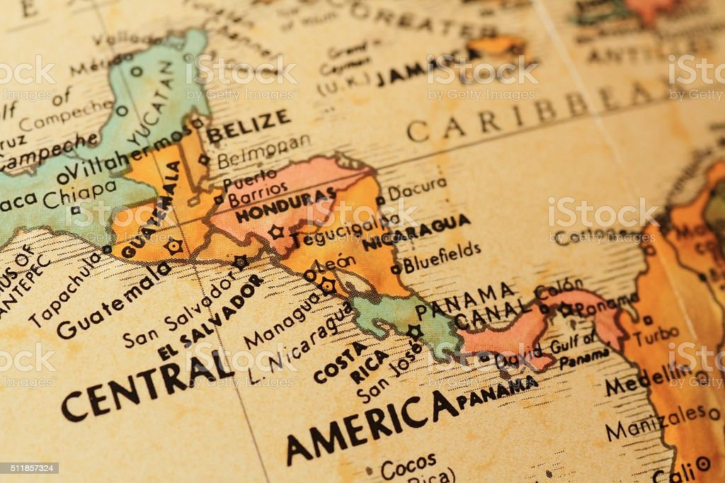 Antique globe focusing on Central America stock photo