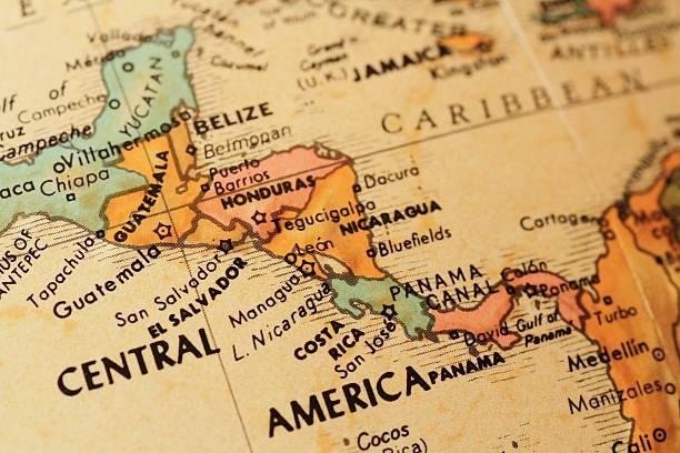 antique globe focusing on central america - midden amerika stockfoto's en -beelden