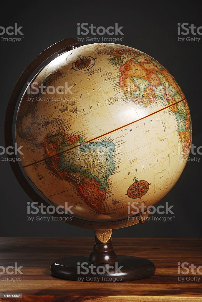 Antique Globe on table royalty-free stock photo