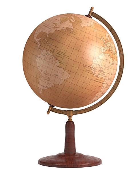 globo sobre branco antigo - mapa mundi imagens e fotografias de stock