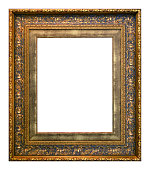 Antique gold and blue frame isolated on the white background vintage style