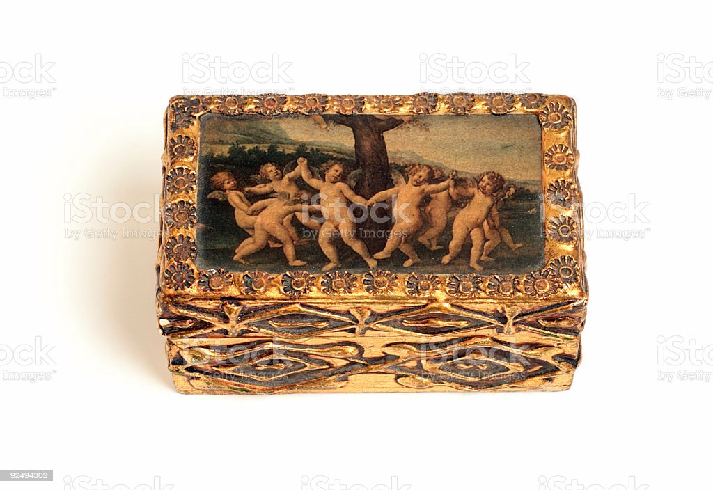 Antique Gold Box with Cherubs royalty-free stock photo