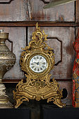 Antique Tabletop Gold Clock at Flea Market
