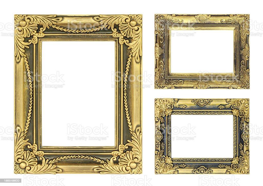Antike Gold Bilderrahmen Auf Dem Weißen Hintergrund Stock-Fotografie ...