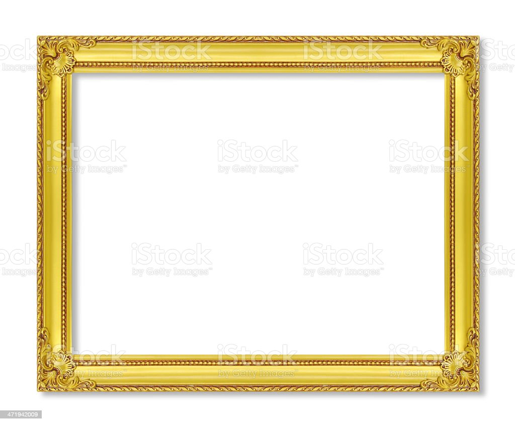antique gold frame on the white background stock photo