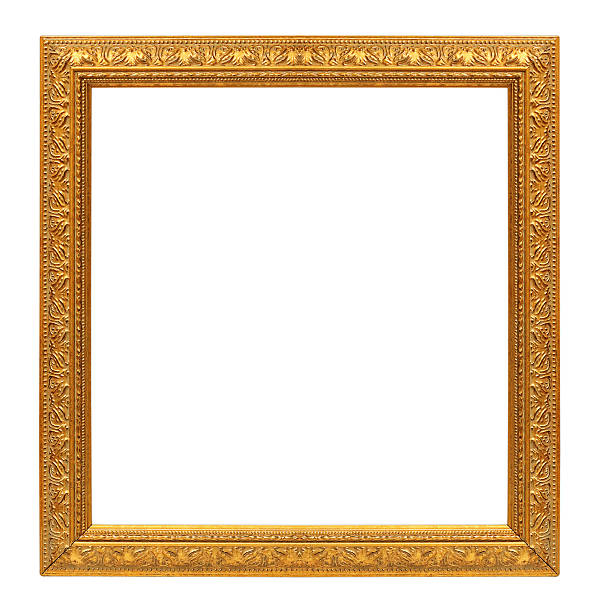 antique gold frame on the white background The antique gold frame on the white background town square stock pictures, royalty-free photos & images