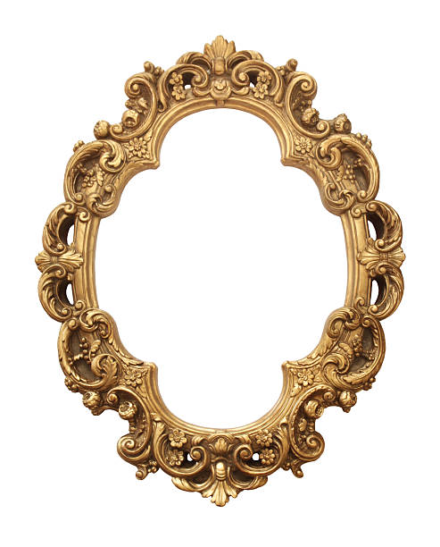 antique gold frame - barokstijl stockfoto's en -beelden