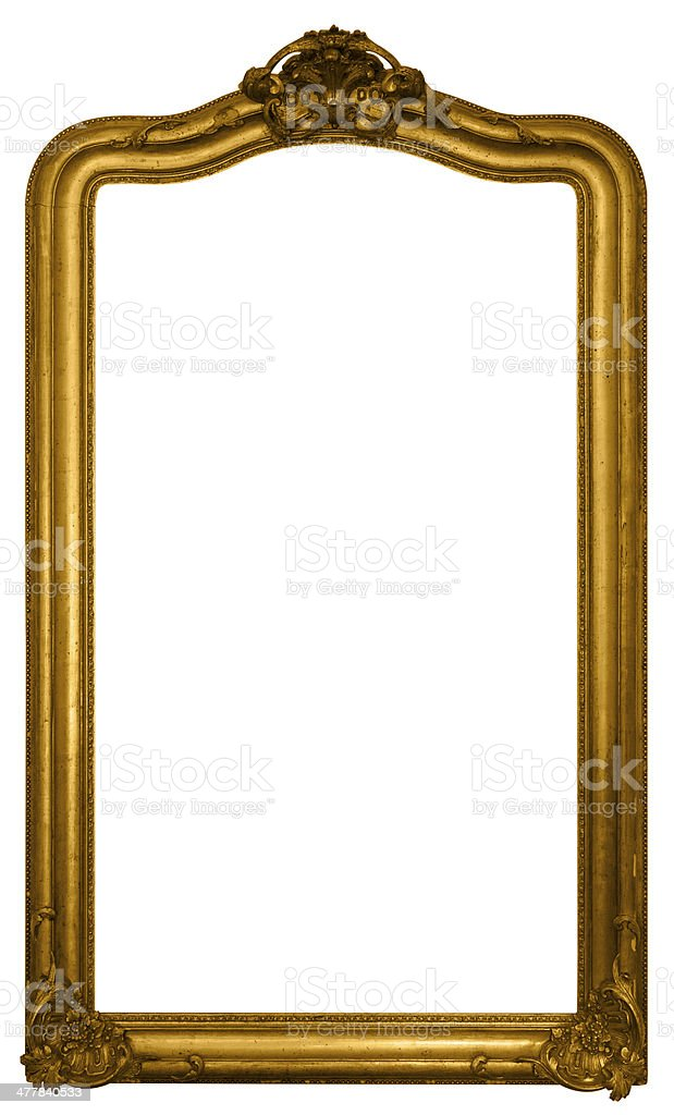 Antique Gold Leaf Picture Frame Isolated on White stock photo