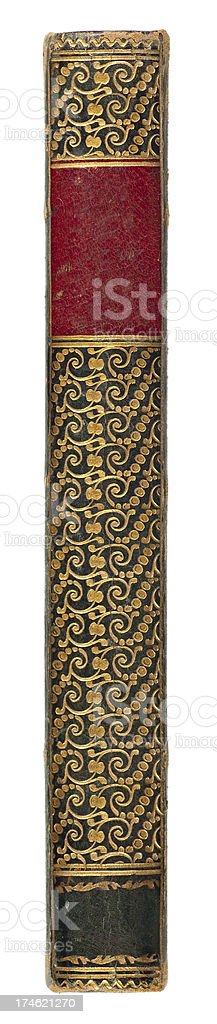 Antique Gold Leafed Leather Book Spine stock photo