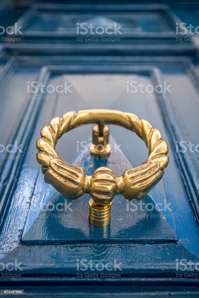 Picture of: Antique Gold Or Brass Door Knocker On A Blue Painted Door Old Townhouse In Sliema Malta Stock Photo Download Image Now Istock