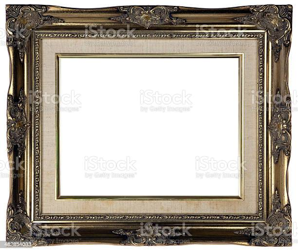 Antique Gold Picture Frame Xxl Stock Photo - Download Image Now