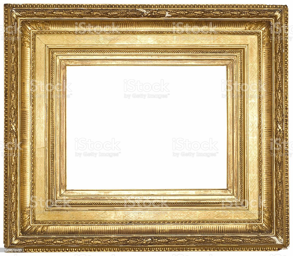 Antique Gold Plated Wooden Picture Frame White Isolated Stock Photo ...