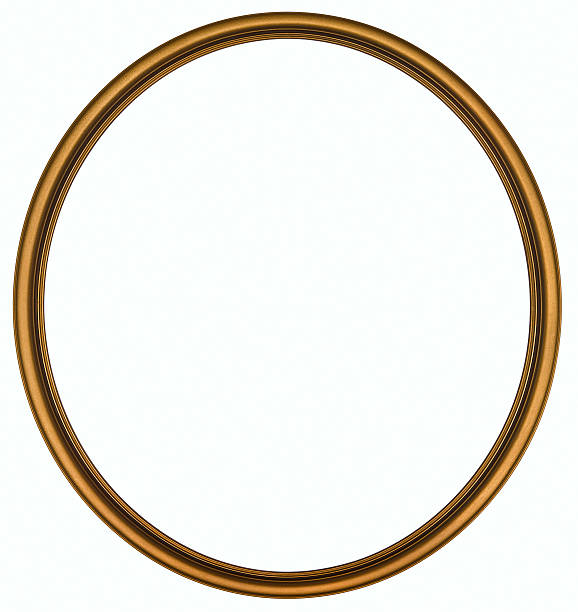 Antique Gold Round Picture Frame. Isolated with Clipping Path stock photo