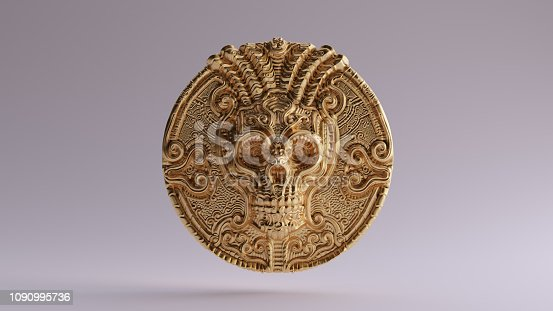 istock Antique Gold Skull Coin 1090995736