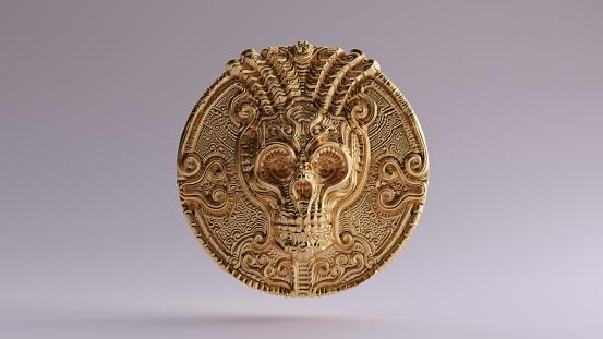 Antique Gold Skull Coin