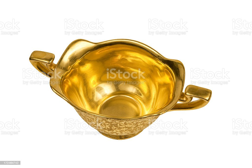 Antique gold sugar serving bowl isolated on white royalty-free stock photo