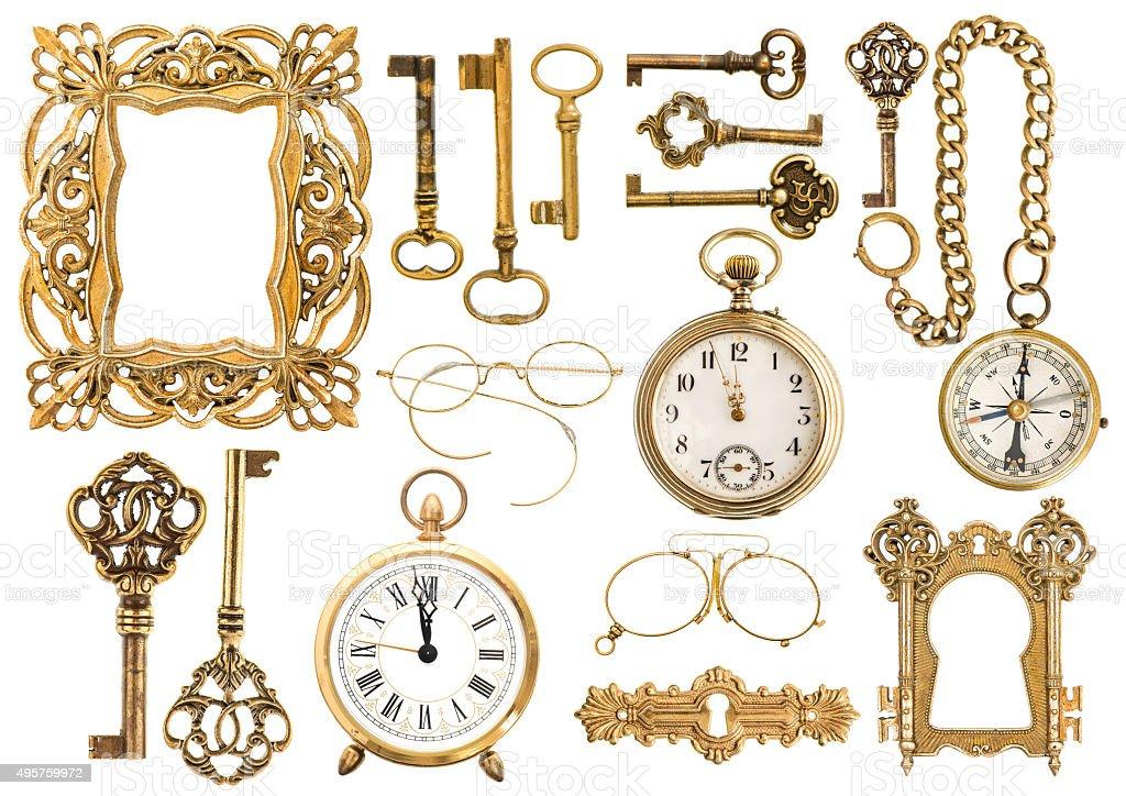 Golden Accesorios Antiguos Marco Vintage Reloj Clave - Fotografía de ...