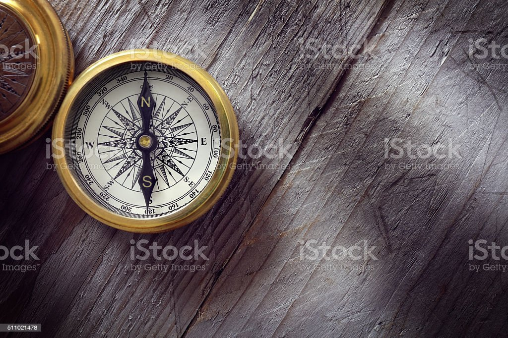 Antique golden compass​​​ foto