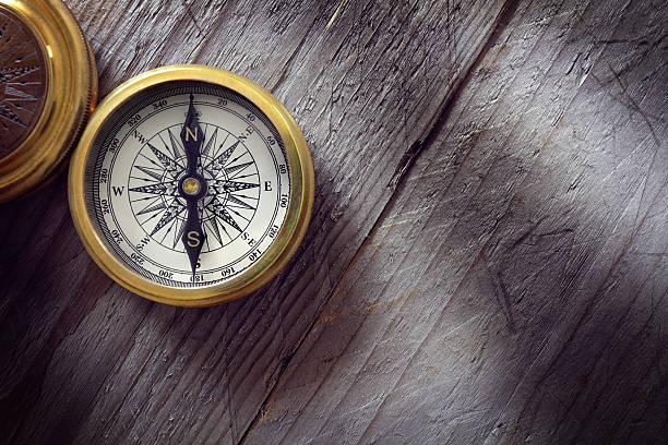 Antique golden compass stock photo