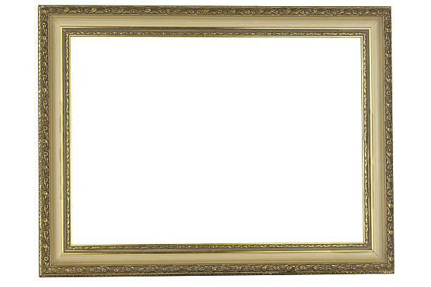 antiker goldener rahmen isoliert auf weißem hintergrund - sammelalbum wandkunst stock-fotos und bilder