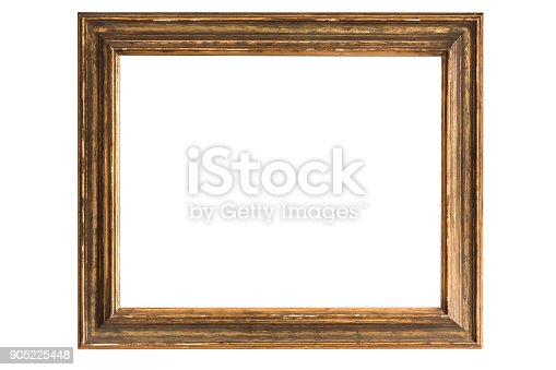 antique golden frame isolated on white background with copy Space