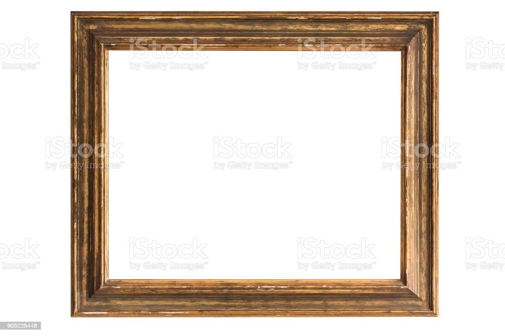 antique golden frame isolated on white background – zdjęcie