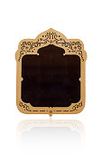 Luxury antique golden frame isolated on white background with clipping path