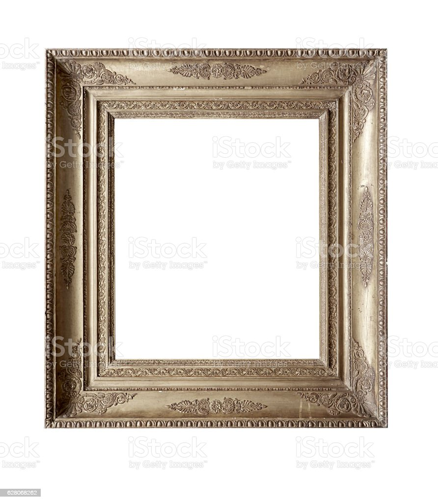 antique golden frame isolated on white background with clipping path. stock photo
