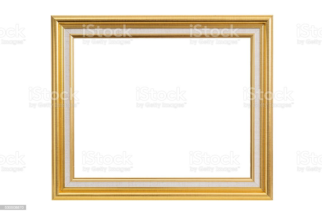 Antiker Goldener Rahmen isoliert auf weiss – Foto
