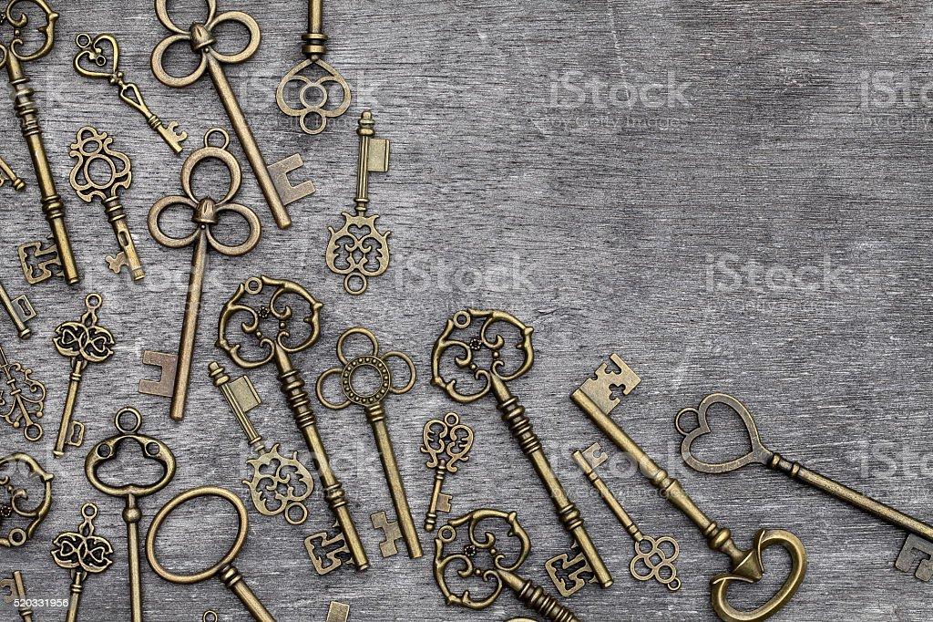 antique golden keys stock photo