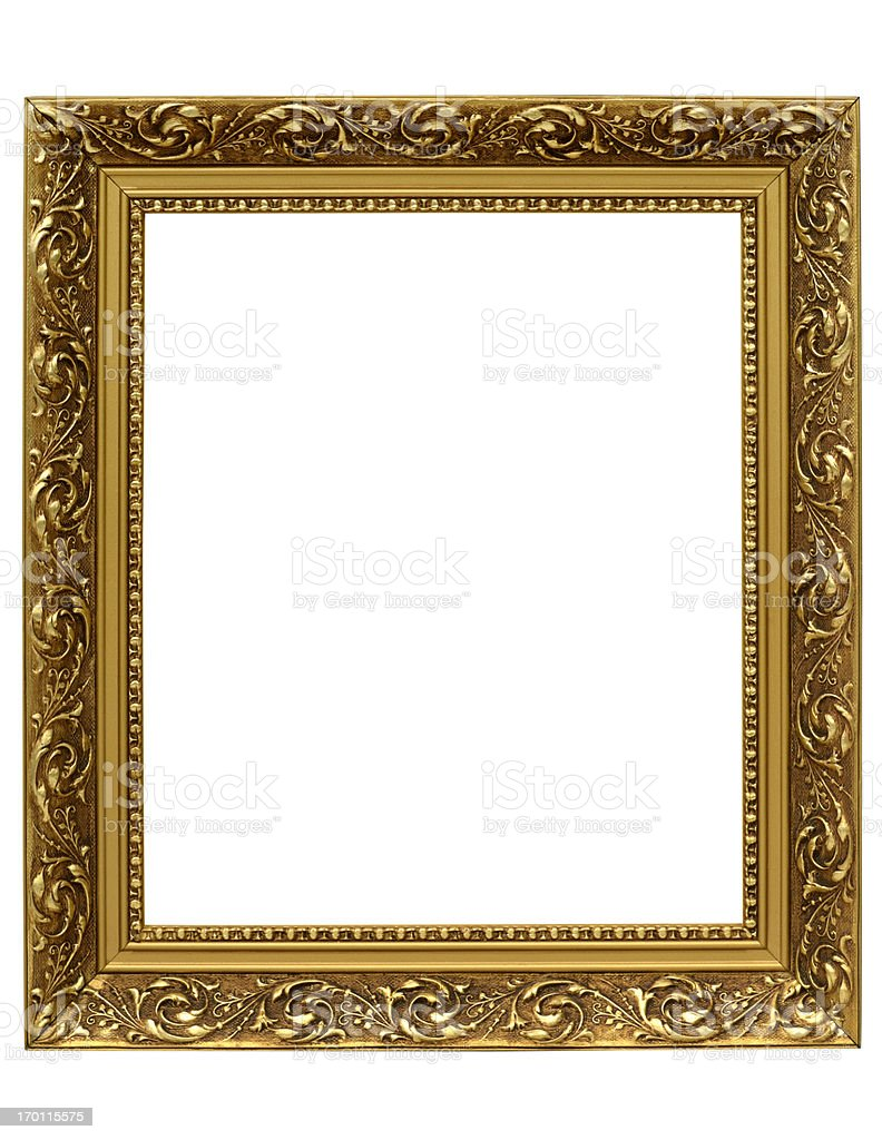 Antique Golden Ornate Picture Frame with Clipping Path royalty-free stock photo