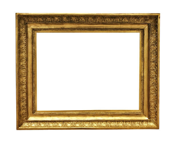 antique golden textured masterpiece frame - frame stock photos and pictures