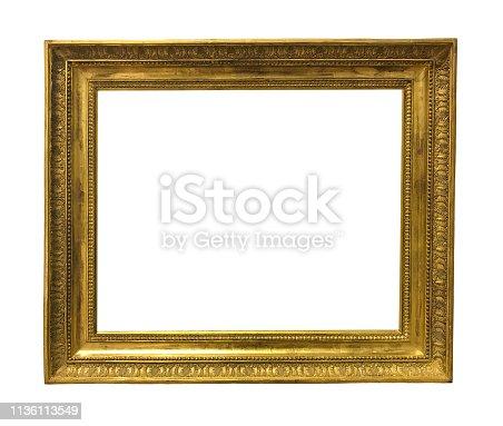 914465180 istock photo antique golden textured masterpiece frame 1136113549