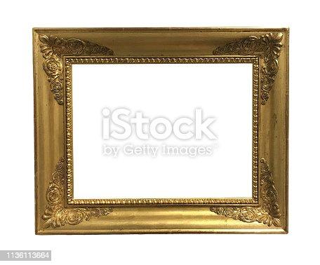914465180 istock photo antique golden textured masterpiece frame 1136113664