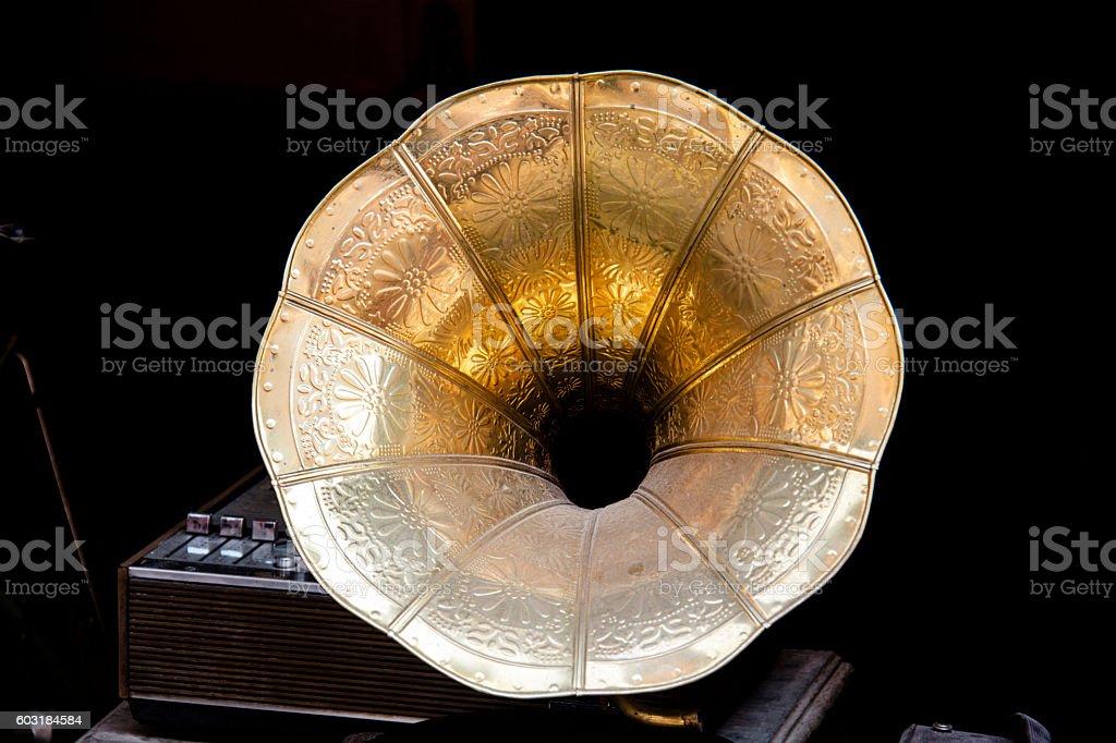 antique gramophone stock photo