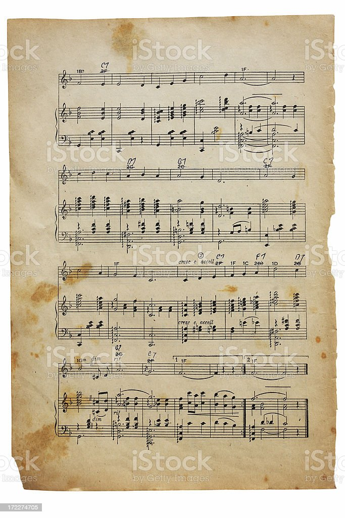 antique grunge sheet music with path royalty-free stock photo