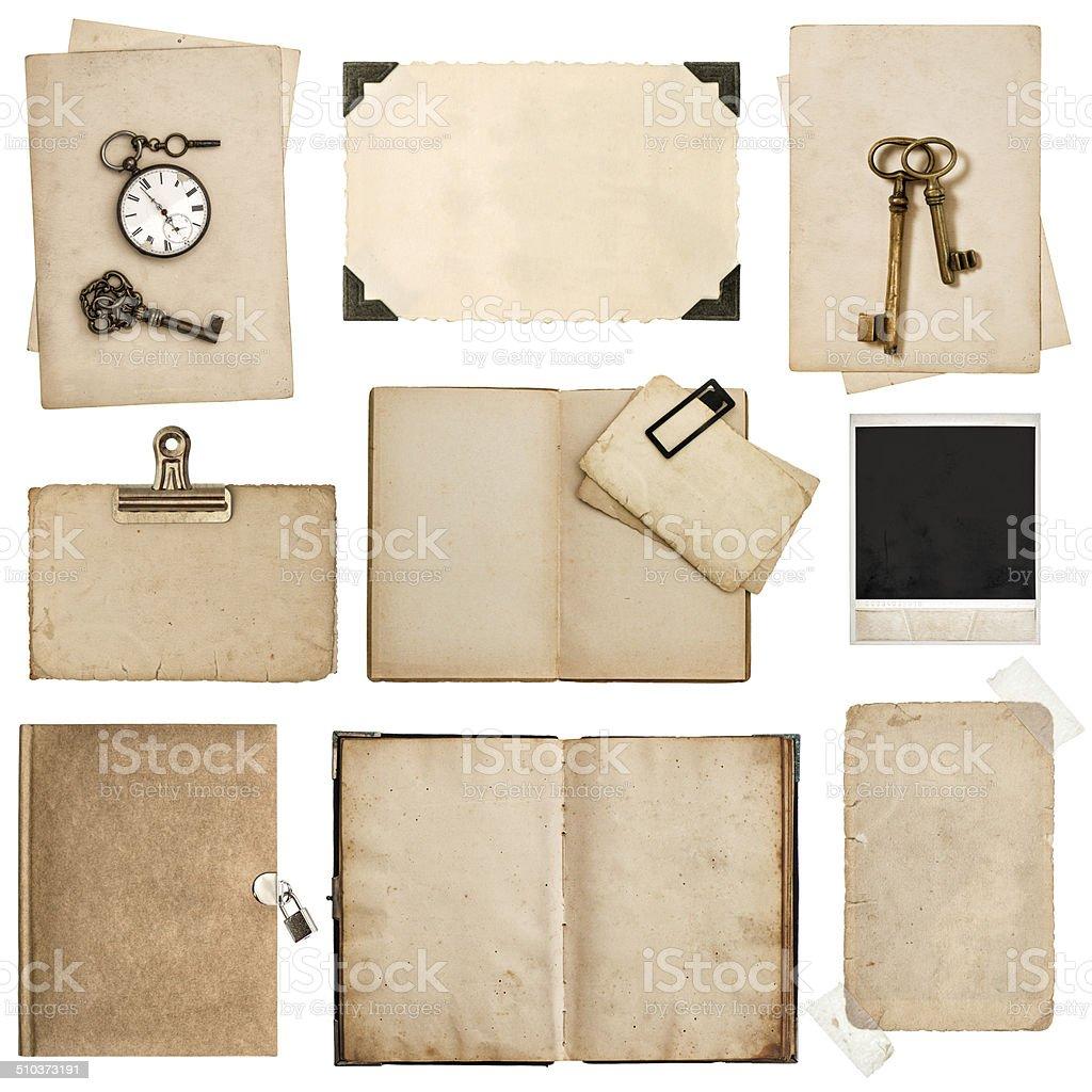 Fotografía de Antigua Grungy Hojas De Papel Libro Y Marcos De Fotos ...