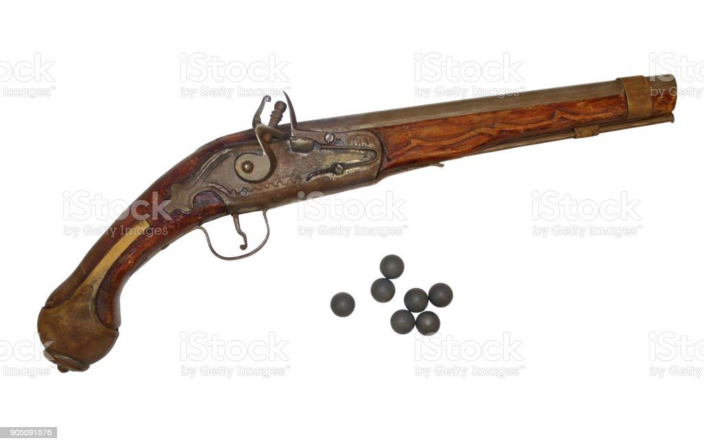 Antique gun eighteenth-nineteenth centuries. stock photo