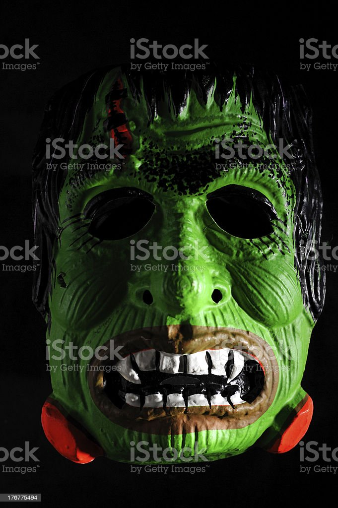 Antique Halloween French Mask on Black stock photo