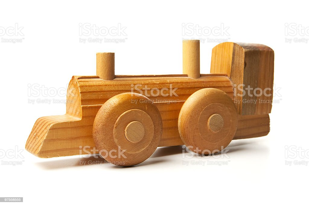 Antique Hand Made Wood Toy Train royalty-free stock photo