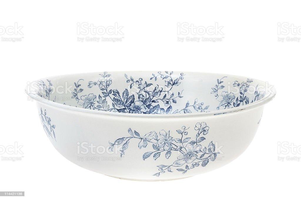 Antique hand painted washbowl isolated on white background stock photo