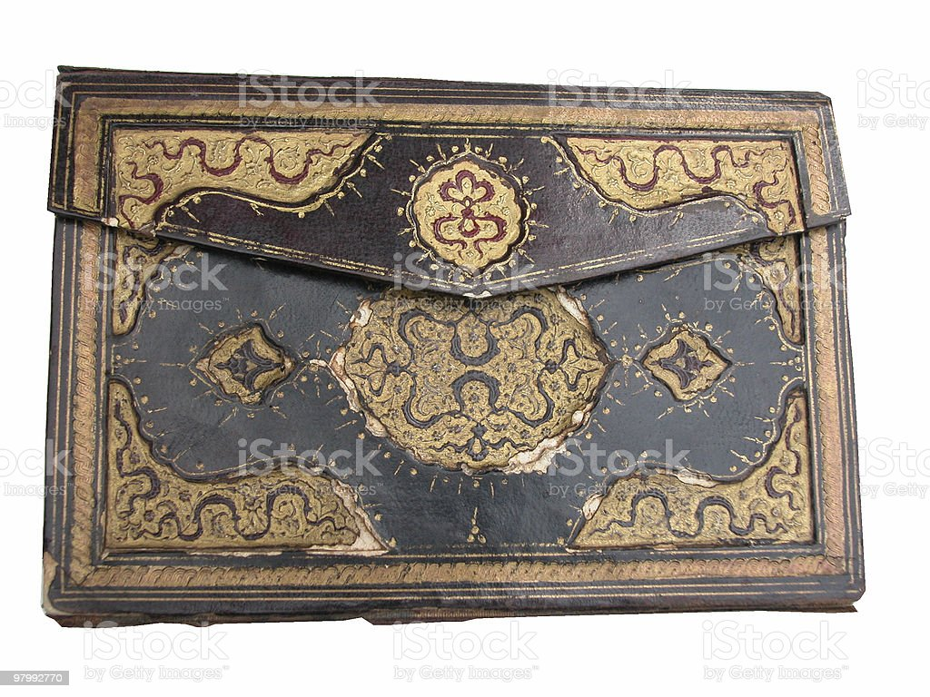 Antique Handwritten Turkish Koran Leather Cover royalty-free stock photo
