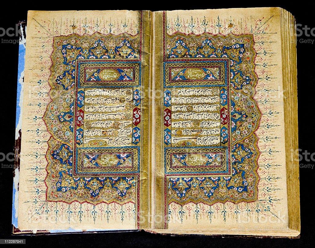 Antique Handwritten Turkish  Koran stock photo