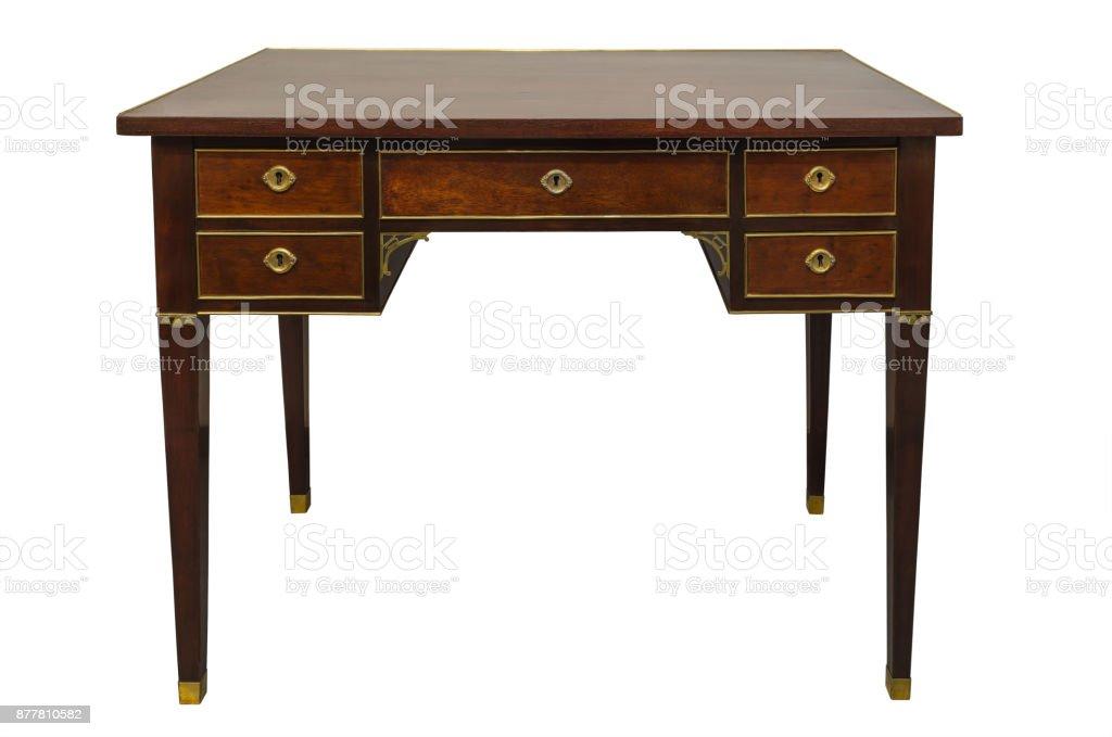 Antique hard wood writing desk , isolated on white background stock photo