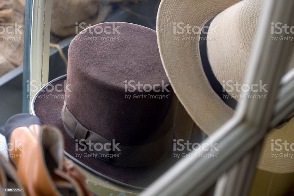 Antique Hats in a Shop Front Show Window royalty-free stock photo