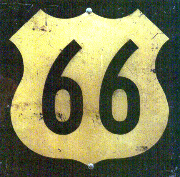 Antique Highway 66 Sign stock photo