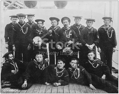 Antique historical photographs from the US Navy and Army: Band