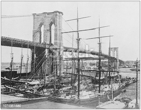 Antique historical photographs from the US Navy and Army: Brooklyn bridge, New York