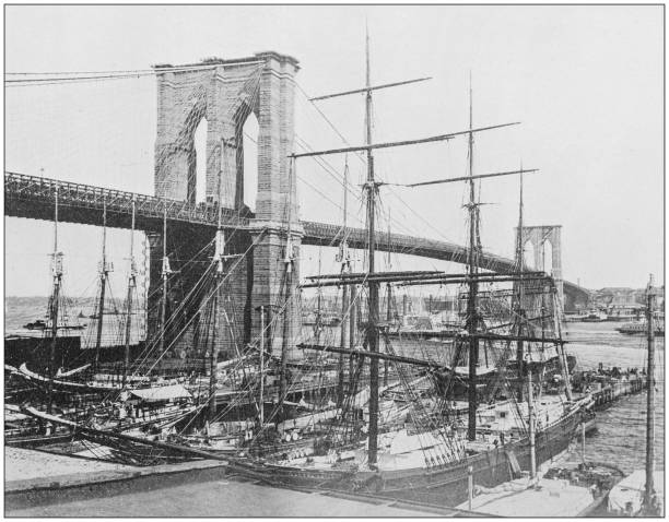 Antique historical photographs from the US Navy and Army: Brooklyn bridge, New York Antique historical photographs from the US Navy and Army: Brooklyn bridge, New York 1890 stock pictures, royalty-free photos & images