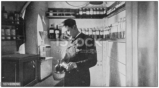 Antique historical photographs from the US Navy and Army: Dispensary in the